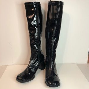 Knee high Black Patent GoGo boots 9 Vinyl NEW
